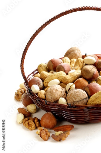 Assortment of different nuts (peanuts, hazelnuts)