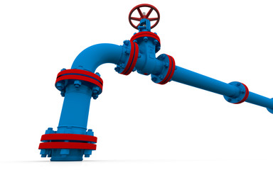Blue pipe and valve