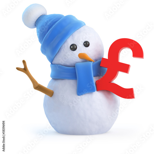 Snowman with UK Pounds symbol
