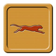 Bottone legno ghepardo