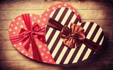 Heart shape valentine box handmade on wooden background