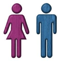Men and Women toilet wood sign