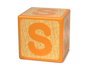 Letter S on Childrens Alphabet Block.