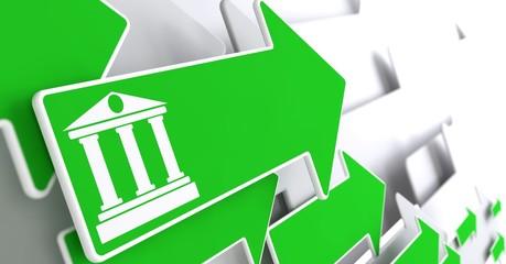 Bank Icon on Green Arrow.
