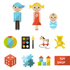 Set of toy shop icons