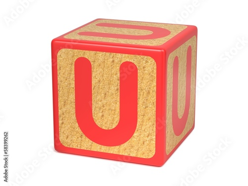 Letter U - Childrens Alphabet Block.