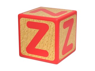 Letter Z on Childrens Alphabet Block.