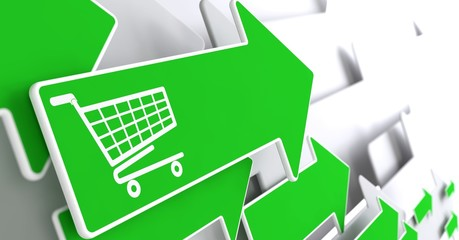 Shopping Cart Icon on Green Arrow.