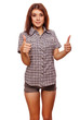 woman brunette young girl shows positive sign thumbs yes, shirt