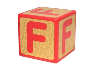 Letter F on Childrens Alphabet Block.