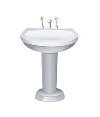 Washbasin With White Water Tap