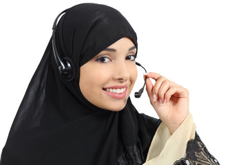 Beautiful phone operator arab woman working