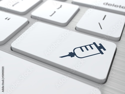 White Keyboard  Button with Syringe Icon.