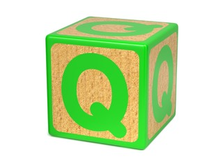 Letter Q on Childrens Alphabet Block.