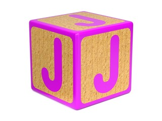 Letter J on Childrens Alphabet Block.