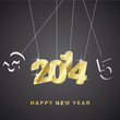 3D gold 2014 black background vector