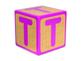 Letter T on Childrens Alphabet Block.