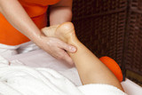 Woman receiving therapeutic massage and lymphatic drainage poster