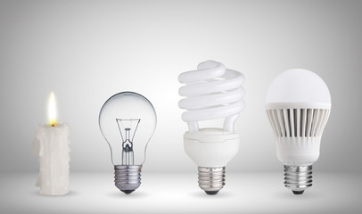 Candle, tungsten bulb,fluorescent bulb and LED bulb