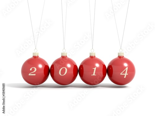 Render of 2014 new year christmas balls pendulum