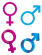 Male Female Gender Symbols Vector Illustration