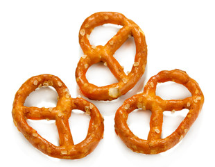 Tasty pretzels isolated on white
