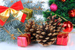 Christmas decoration with pine cones close-up