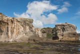 eroded cliffs at Muriwai with flying gannets