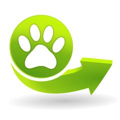 patte de chien sur symbole vert
