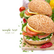 burger with smoked salmon, vegetables and lemon isolated