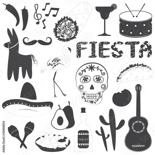 Mexican Party Icons Vector Illustrations Set