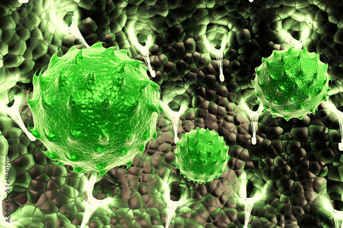 green virus cell symbol representing bacterial infection