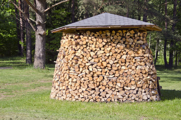 stack firewood fuel in garden
