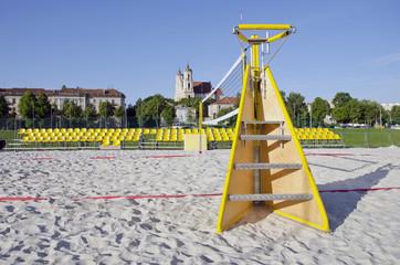 beach volleyball court in Vilnius city near Neris river