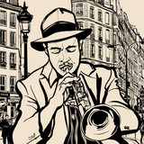Fototapety trumpet player on a cityscape background