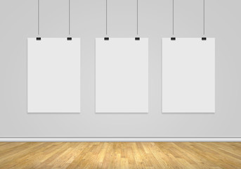 Three blank banners