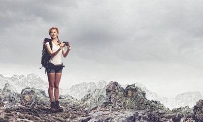 Young woman mountaineer