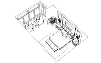 Classic bedroom interior designed in black and white graphics