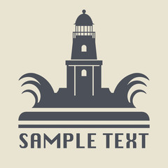 Lighthouse icon or sign, vector