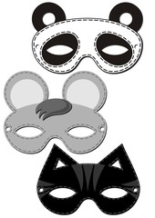 mysz kot panda karnawałowe maski izolowany zestaw