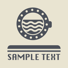 Ship porthole icon or sign, vector