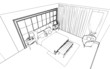 Classic bedroom interior designed in black and white graphics