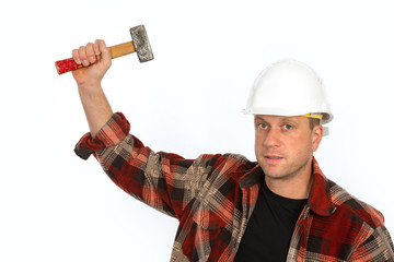 man with hammer and helmet