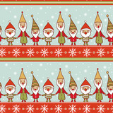 Seamless Christmas pattern with gnomes