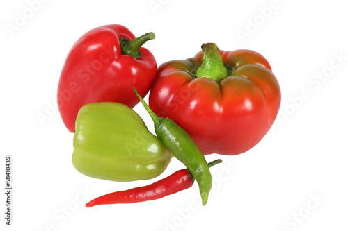 Set of various peppers isolated on white.