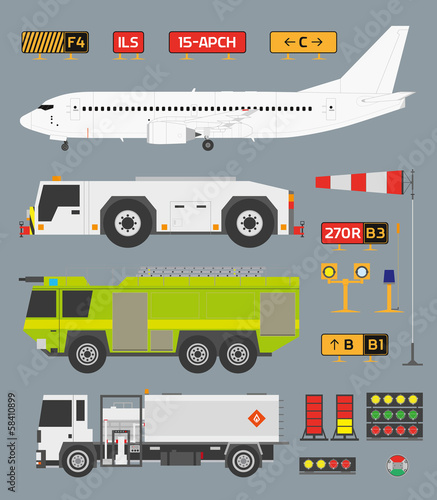 Airport infographic set with trucks