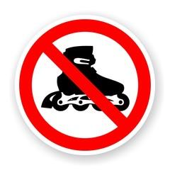 sticker of no roller skates sign