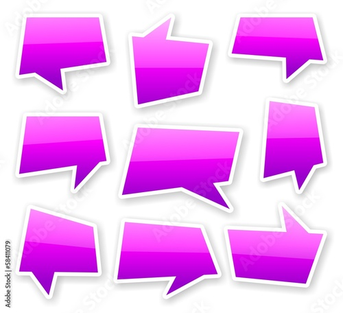 stickers of angular purple glossy comics text bubbles