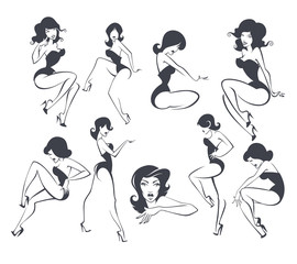 large vector collection of stylized pin up girls in different po