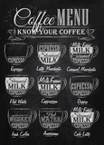 Set of coffee menu with a cups of coffee chalk